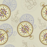 Seamless background with compass and anchor Stock Photography