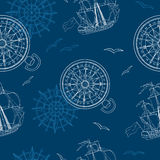 Seamless background with compass, ship and gull. Vintage seamless background with compass, ship and gulls on blue Royalty Free Stock Images