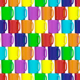Seamless background composed of colorful ceramic cups Stock Image