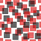 Seamless background composed of red and black squares. On white area Stock Photos