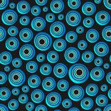 Seamless background of concentric circles in neon blue colors on black. Retro pattern, inspired by the 60s vector illustration