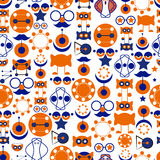 Seamless background consisting of abstract symbols, orange and blue Royalty Free Stock Photos
