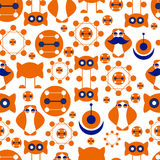 Seamless background consisting of abstract symbols, orange and blue Royalty Free Stock Photography