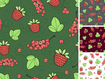 Seamless background consisting of berries and leaves Stock Images
