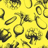 Seamless background consisting of silhouettes of vegetables Royalty Free Stock Images