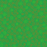 Seamless Background with Contour Shamrocks. Seamless Pattern with Contour Shamrocks made in Ireland Flag Color on the Green Backdrop. St.Patricks Day Background Stock Photo