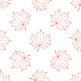 Seamless  background of the contours of a maple leaf.  Vector Illustration
