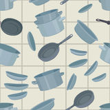 Seamless background with cookware Royalty Free Stock Images