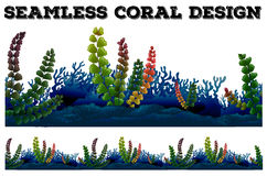 Seamless background with coral and seaweeds. Illustration Stock Images