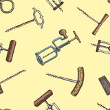 Seamless background with corkscrew engraved vintage pattern Royalty Free Stock Image