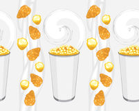 Seamless background with corn flakes and popcorn products Royalty Free Stock Images
