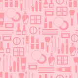 Seamless background with cosmetics icons Royalty Free Stock Photos