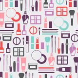 Seamless background with cosmetics icons Stock Photography
