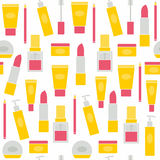Seamless background with cosmetics icons Stock Image