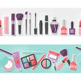 Seamless background with cosmetics sticker icons Royalty Free Stock Photo