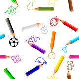 Seamless background with crayons Stock Photo