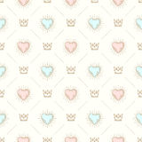Seamless background with crown and hearts Royalty Free Stock Images