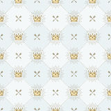Seamless background with crowns and arrows. Seamless background with royal crown and crossed arrows - pattern for wallpaper, wrapping paper, book flyleaf Royalty Free Stock Photos