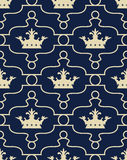 Seamless background with crowns and Fleur de lis Royalty Free Stock Images