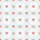 Seamless background with crowns and hearts Stock Image