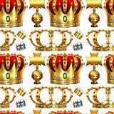 Seamless background with crowns. Illustration Stock Photography