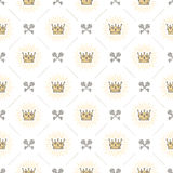 Seamless background with crowns and keys. Seamless background with royal crown and crossed old keys - pattern for wallpaper, wrapping paper, book flyleaf Royalty Free Stock Images
