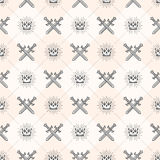 Seamless background with crowns and swords. Seamless background with crossed swords and sunburst royal crown - pattern for wallpaper Royalty Free Stock Photography