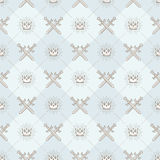 Seamless background with crowns and swords. Seamless background with crossed swords and sunburst royal crown - pattern for wallpaper Stock Photography