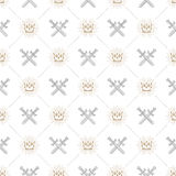 Seamless background with crowns and swords. Seamless background with crossed swords and sunburst royal crown - pattern for wallpaper Royalty Free Stock Images