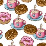Seamless background with cup of coffee and donuts Stock Photo