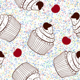 Seamless background with cupcakes Royalty Free Stock Images