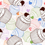 Seamless background with cupcakes Royalty Free Stock Image