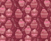 Seamless background with cupcakes Stock Photography