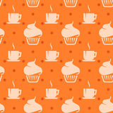 Seamless background with cupcakes and coffee cups Royalty Free Stock Image