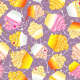 Seamless  background of cupcakes with cream Stock Photography