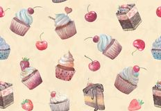 Seamless background with cupcakes Royalty Free Stock Photography