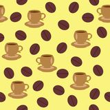 Seamless background with cups of coffee. On yellow Stock Images