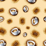 Seamless background with cups of coffee for your design Royalty Free Stock Photography