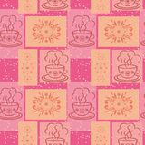 Seamless background, cups and floral pattern Stock Images