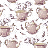 Seamless background with cups and pots Stock Images