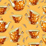 Seamless background with cups of tea and pots Royalty Free Stock Images