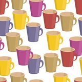 Seamless background with cups Stock Image