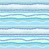 Seamless background of curled abstract blue waves. Vector striped background. Seamless stripes Royalty Free Stock Image