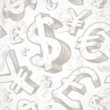 Seamless background with currency signs. Seamless background with hand drawn currency signs Royalty Free Stock Photo