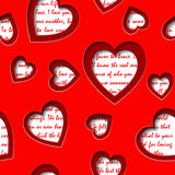 Seamless background with cut out  hearts and text about love Stock Image