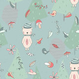 Seamless background with cute bear in the forest. Royalty Free Stock Photos