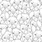 Seamless background with cute bulldog sketch . Realistic dog Royalty Free Stock Photo