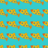 Seamless background with cute cartoon fishes. Royalty Free Stock Photo