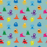 Seamless background with cute cheerful colorful monsters royalty free illustration