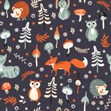 Cute woodland animals pattern. Seamless background with cute forest animals, trees and mushrooms on dark blue background. Vector illustration for children Stock Images